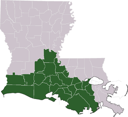 Map of Louisiana with Acadiana highlighted