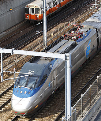 Brecknell Willis high speed pantograph - Image: Acela overhead view