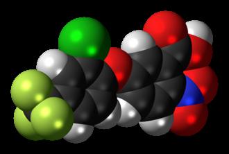 Acifluorfen - Image: Acifluorfen molecule spacefill