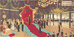 Adachi Ginkō (1889) View of the Issuance of the State Constitution in the State Chamber of the New Imperial Palace (cropped and rotated).jpg