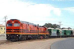 Rail transport in South Australia - Australian Railroad Group broad-gauge Penrice Stone Train from the Barossa Valley to Osborne passing Birkenhead before 2008