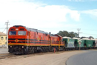 Railways in Adelaide - Australian Railroad Group Penrice Stone Train from the Barossa Valley line to Osborne in Birkenhead