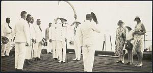 Herbert Ernest Hart - Hart (left centre, saluting) receiving the salute upon arrival in Apia, Western Samoa in April 1931