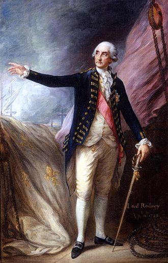 George Brydges Rodney, 1st Baron Rodney - Admiral Rodney after the Battle of the Saintes, 1782, by Thomas Gainsborough. Behind is the French fleur de lys naval ensign from the captured Ville De Paris
