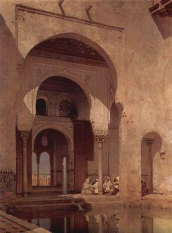 intérieur des palais nasrides, peinture orientaliste de Adolf Seel, 1886