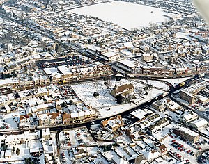 Hadleigh, Essex - Image: Aerial view of Hadleigh centre in the snow geograph.org.uk 1563668