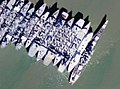Aerial view of USS Iowa (BB-61) and other ships laid-up in Suisun Bay, California (USA), circa in the early 2000s.jpg