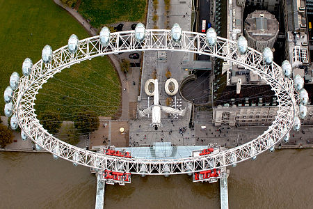 Aerial view of the London Eye.