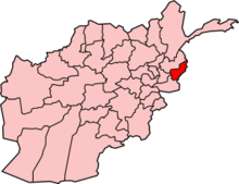 Pink map of Afghanistan, with Kunar Province in red in the northeast