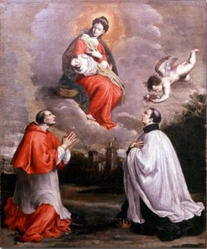 Agostino Bonisoli - 1695 work by Agostino Bonisoli, with Charles Borromeo (left) and Louis Gonzaga.
