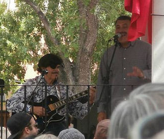 Al Hurricane Jr. - Al Hurricane Jr., at right, performing with his father in Old Town Albuquerque.