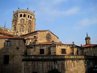 Ourense Cathedral - South wing of the cathedral with its octagonal lantern tower
