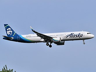 Following the acquisition of Virgin America, Alaska Airlines inherited its all-Airbus fleet and outstanding orders. This Airbus A321neo is approaching John F. Kennedy International Airport. Alaska Airlines Airbus A321-253N N929VA approaching JFK Airport.jpg