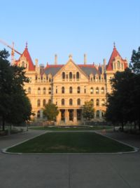 New York State Capitol Building, completed in 1899 at a cost of $25 million was the most expensive government building of its time. Three teams of architects labored on it.