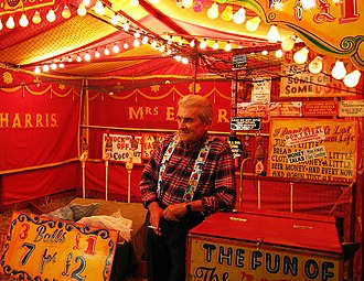 Carny - A carny and his coconut shy in 2005.