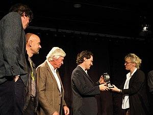German Jazz Award - The award cere´mony 2013: Nils Wogram (center) and the chairwoman of the Union Deutscher Jazzmusiker, pianist Julia Hülsmann (right)