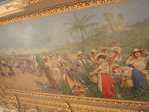 Monsieur Amon - Allegorical image of coffee and banana plantation. Costa Rica National Theatre