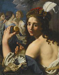 Un dipinto raffigurante Paride con in mano la mela d'oro