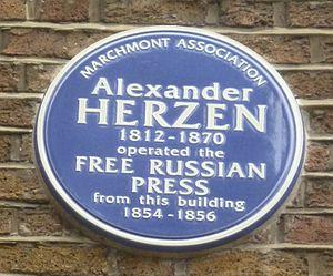 Alexander Herzen - Alexander Herzen plaque in London's Judd Street