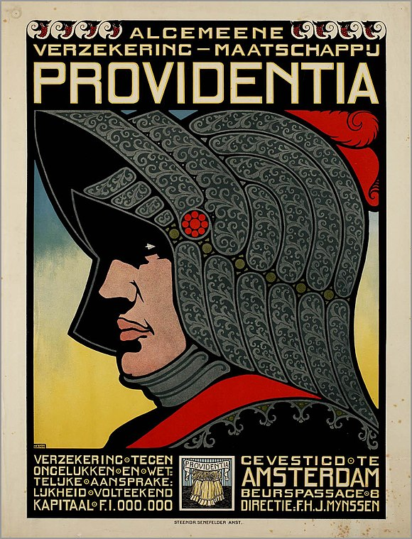 An advertising poster for a Dutch insurance company from c. 1900-1918 depicts an armoured knight. Algemeene Verzeekering-Maatschappij Providentia.jpg