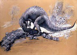 Raffigurazione antiquata di un Allosaurus intento a divorare la sua preda