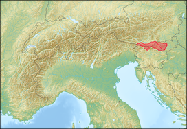 The Karawanks (red, left) and Pohorje (red, right)