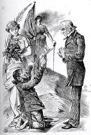 Boerehaat - 1880 political cartoon by W. H. Schröder in The Lantern depicting a Boer petitioning Britain for continued independence. The personification of annexation is associated with prosperity, independence with anarchy and bankruptcy.