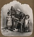 An old woman tries to teach three children the alphabet, one Wellcome V0015849.jpg