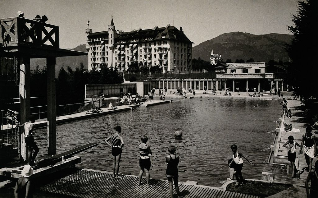 An outdoor swimming pool in Gstaad, Switzerland Wellcome V0049848