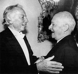 Witold Lutosławski - Lutosławski (right) greets his old friend Andrzej Panufnik (left) in 1990.