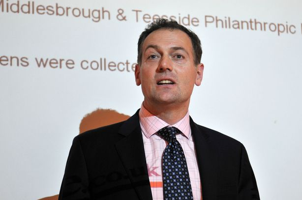 Andy Preston speaking at a charity event in Middlesbrough