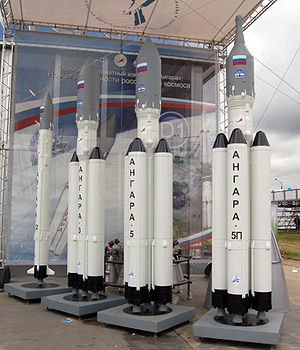 Angara (rocket family) - Angara mock-ups at the MAKS 2009 airshow near Moscow