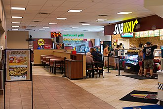 Rest area - A rest stop featuring fast food restaurants such as Moe's Southwest Grill and Subway in Angola, New York.