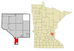 Location of the city of Fridley within Anoka County, Minnesota
