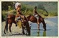 Apaches halting for water at Rio Navajo, Arizona. Fred Harvey series. (NBY 21844).jpg