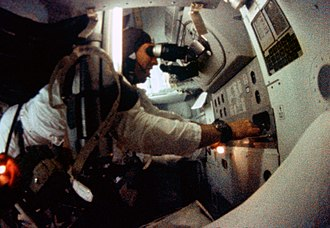 Jim Lovell - Lovell at the Command Module Guidance and Navigation station during the Apollo 8 mission.