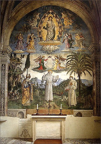 Pinturicchio - Bernard of Clairvaux between Louis of Toulouse and Anthony of Padua, Bufalini Chapel, Santa Maria in Aracoeli, Rome.