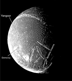 Kachina Chasmata - Voyager 2 image of Ariel. Kachina Chasmata can be seen in the upper part of the image.
