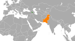 Map indicating locations of Armenia and Pakistan