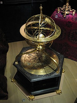 Armillary sphere -  Jost Bürgi and Antonius Eisenhoit: Armillary sphere with astronomical clock, made in 1585 in Kassel, now at Nordiska Museet in Stockholm