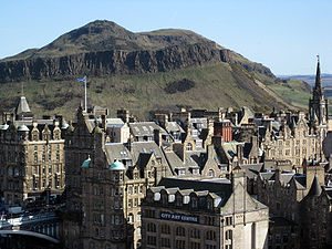 History of Edinburgh - Edinburgh, showing Arthur's Seat, one of the earliest known sites of human habitation in the area