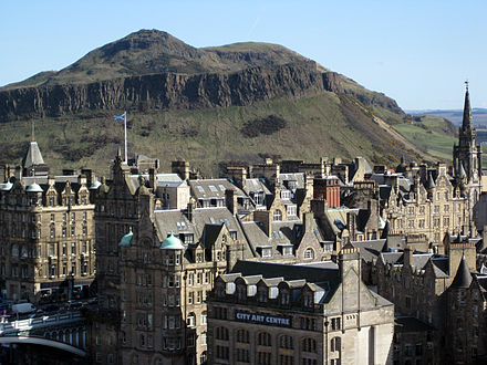 Edinburgh, showing Arthur's Seat, one of the earliest known sites of human habitation in the area Arthurs seat edinburgh.jpg