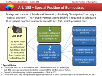 Bumiputera (Malaysia) - A diagram of the special position of Bumiputras under the Malaysian Constitution