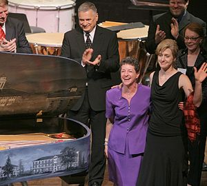 Mia LaBerge - Artist Mia LaBerge on stage at the Kennedy Center during ceremonial concert unveiling of the Madison Bluestone Steinway Art Case Piano which she painted.
