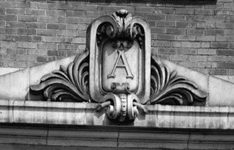 Shibe Park - Cartouches above the entrances along Lehigh Ave and 21st St framed the A's logo