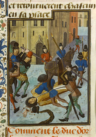 Isabeau of Bavaria - John the Fearless ordered the assassination of Isabeau's political ally Louis of Orléans in 1407, depicted in a 15th-century miniature.