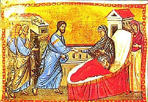 Healing Peter's Mother-in-law, from a 13th cen...