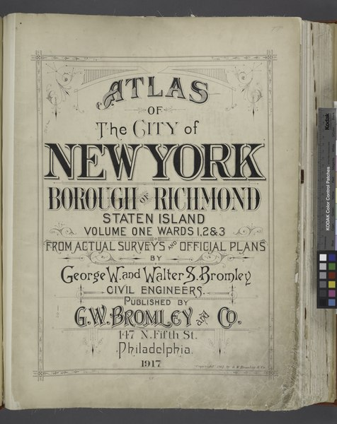 File:Atlas of The City of New York - Borough of Richmond Staten Island Volume One Wards 1, 2, and 3 - From Actual Surveys and Official Plans by George W. and Walter S. Bromley Civil Engineers. Published by NYPL1646315.tiff