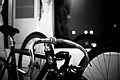 Attractive black and white photo of bicycle handlebars Taipei City.jpg