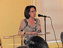Author Marie Arana speaking at Peruvian Embassy in Washington, DC in 2010 (photo by Mary Ishimoto Morris).jpg